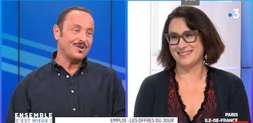 Vincent Ferniot (France 3 Paris-Ile-de-France) et Sylvia Di Pasquale (Cadremploi)