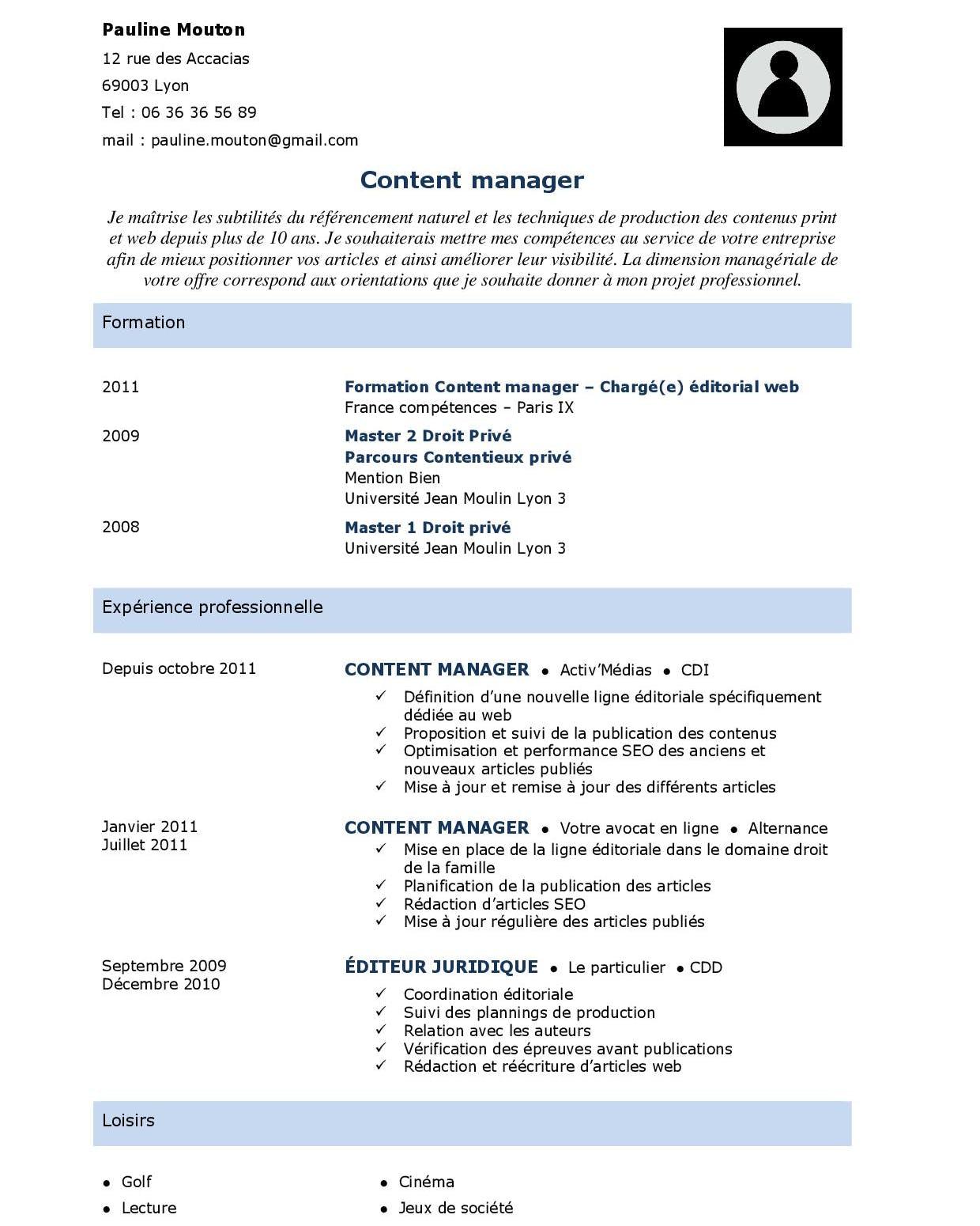 Mise en page CV simple et rapide réalisée avec Word