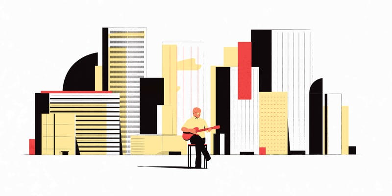 Un saltimbanque-consultant ambiance les entreprises avec sa petite guitare