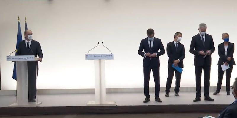 Jean Castex et 4 ministres le 15 octobre 2020