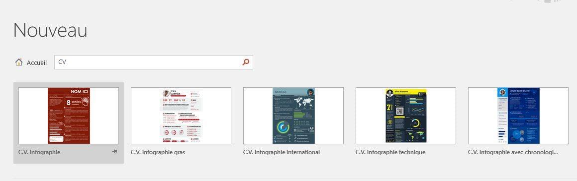 Barre de recherche des modèles de CV sur PowerPoint