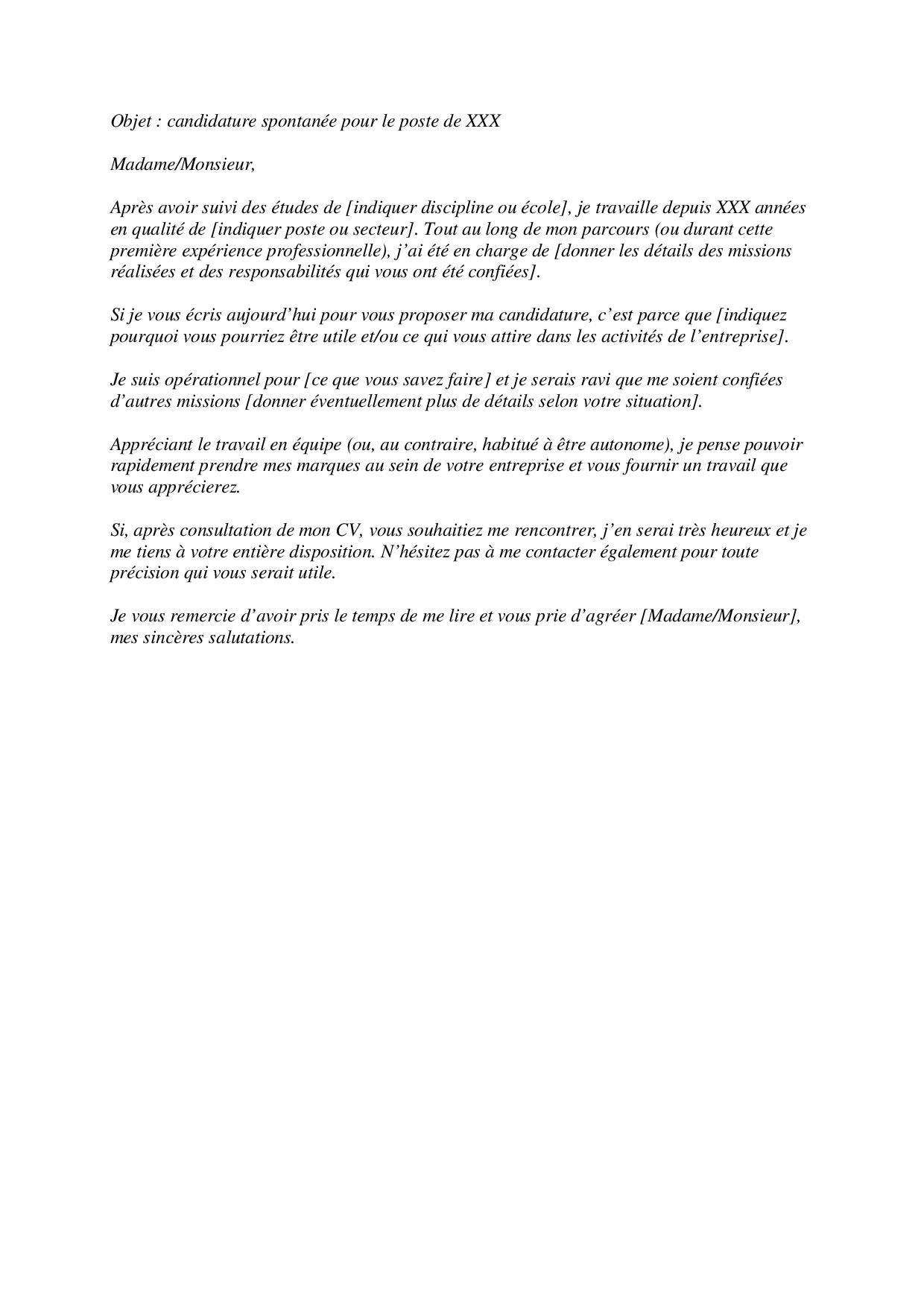 lettre de motivation pour candidature spontan u00e9e   2 bons