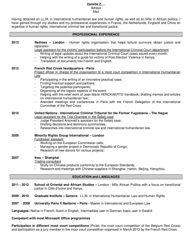 Présentation de CV en anglais