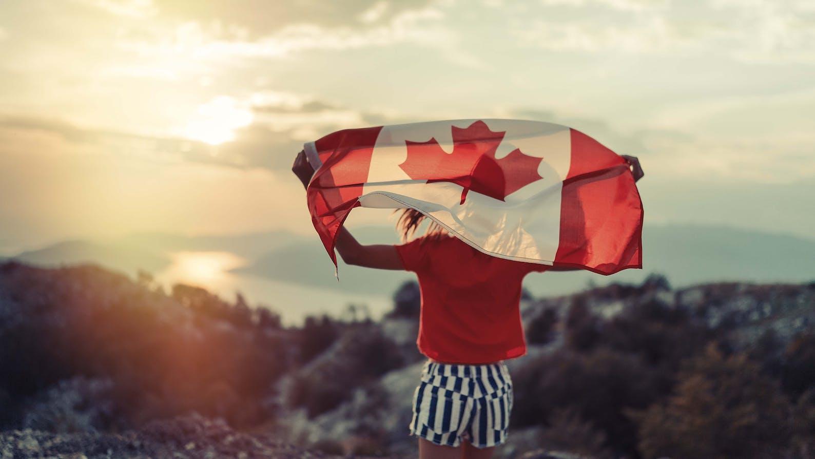 Canadian flag waving