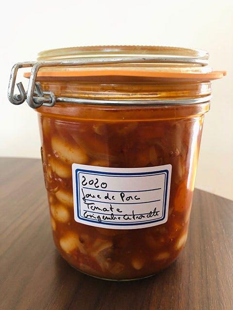 Bocal de joues de porcelet Haricots mais Béarnais Tomate, citronnelle, gingembre - Yves Camdeborde