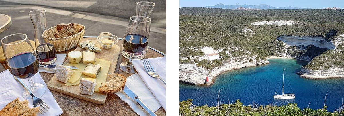 Vino, queso y pan en una terraza francesa - Bonifacio, Francia