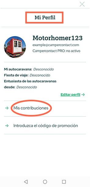 Mis contribuciones - Campercontact app