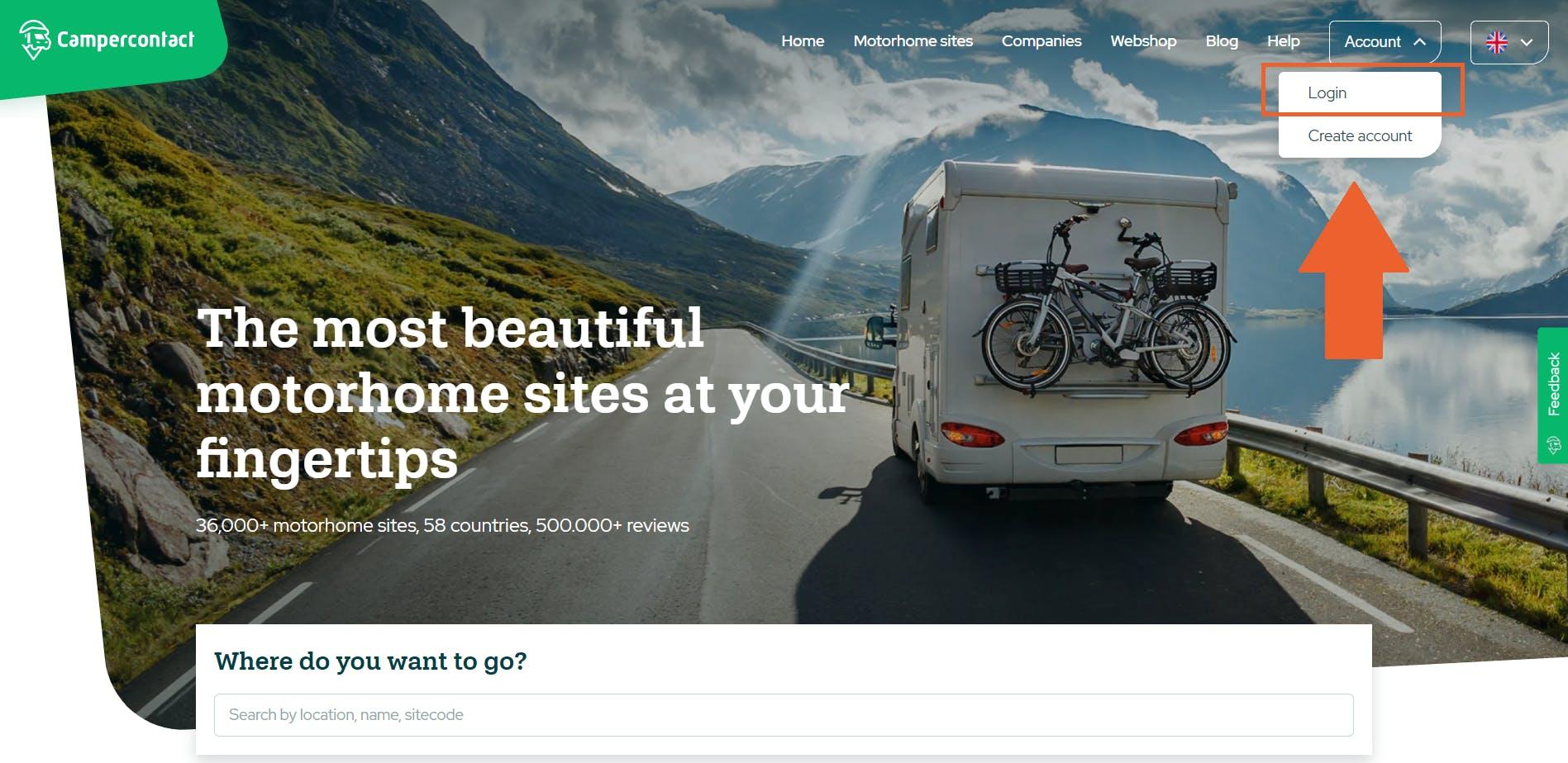 Log in button website