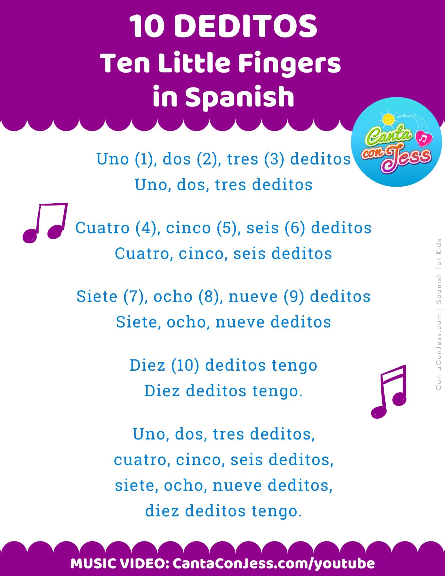 Ten Little Fingers Song in Spanish LYRICS - 10 (Diez) Deditos - Spanish Songs for Kids