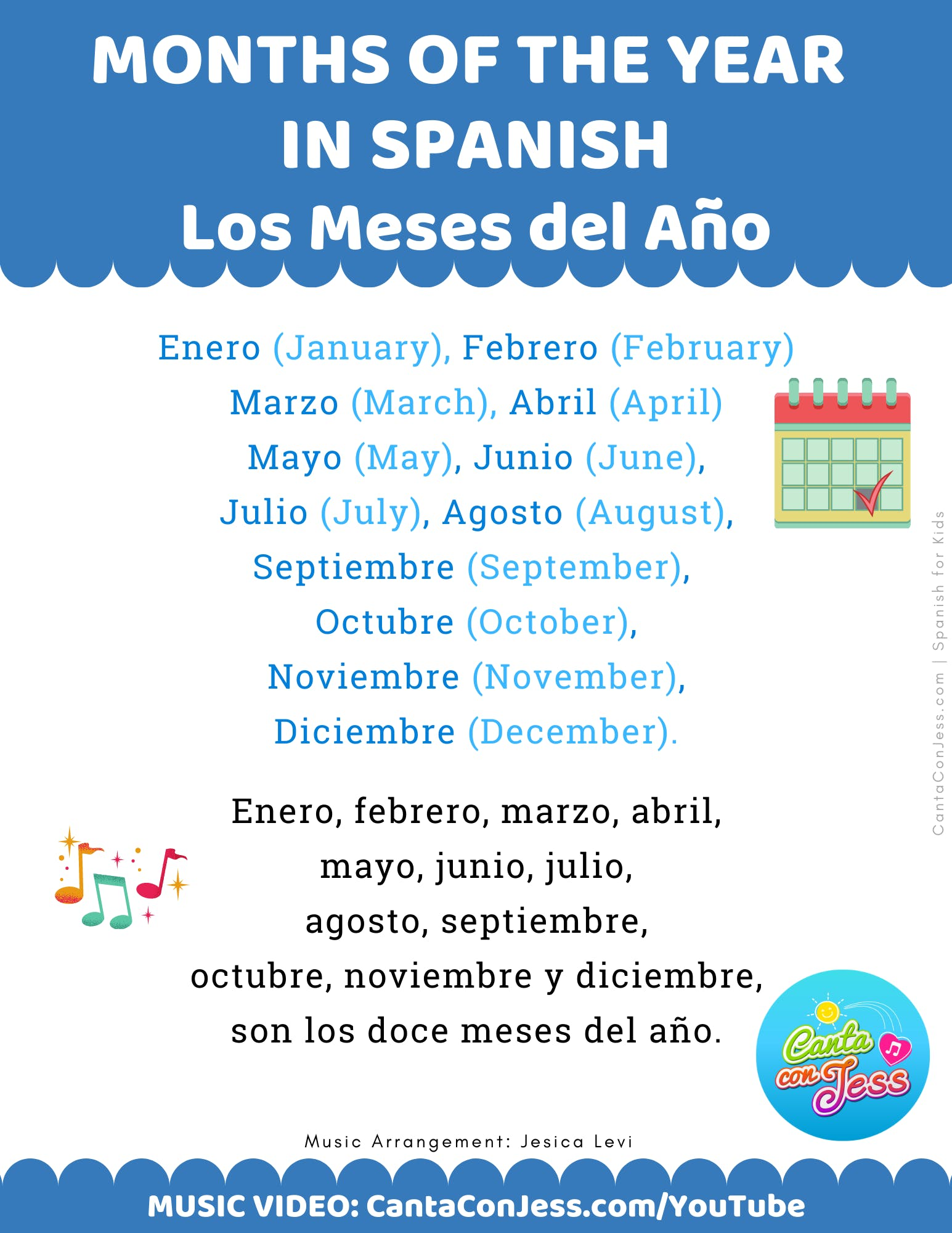 Months of the Year in Spanish LYRICS - Los Meses del Año