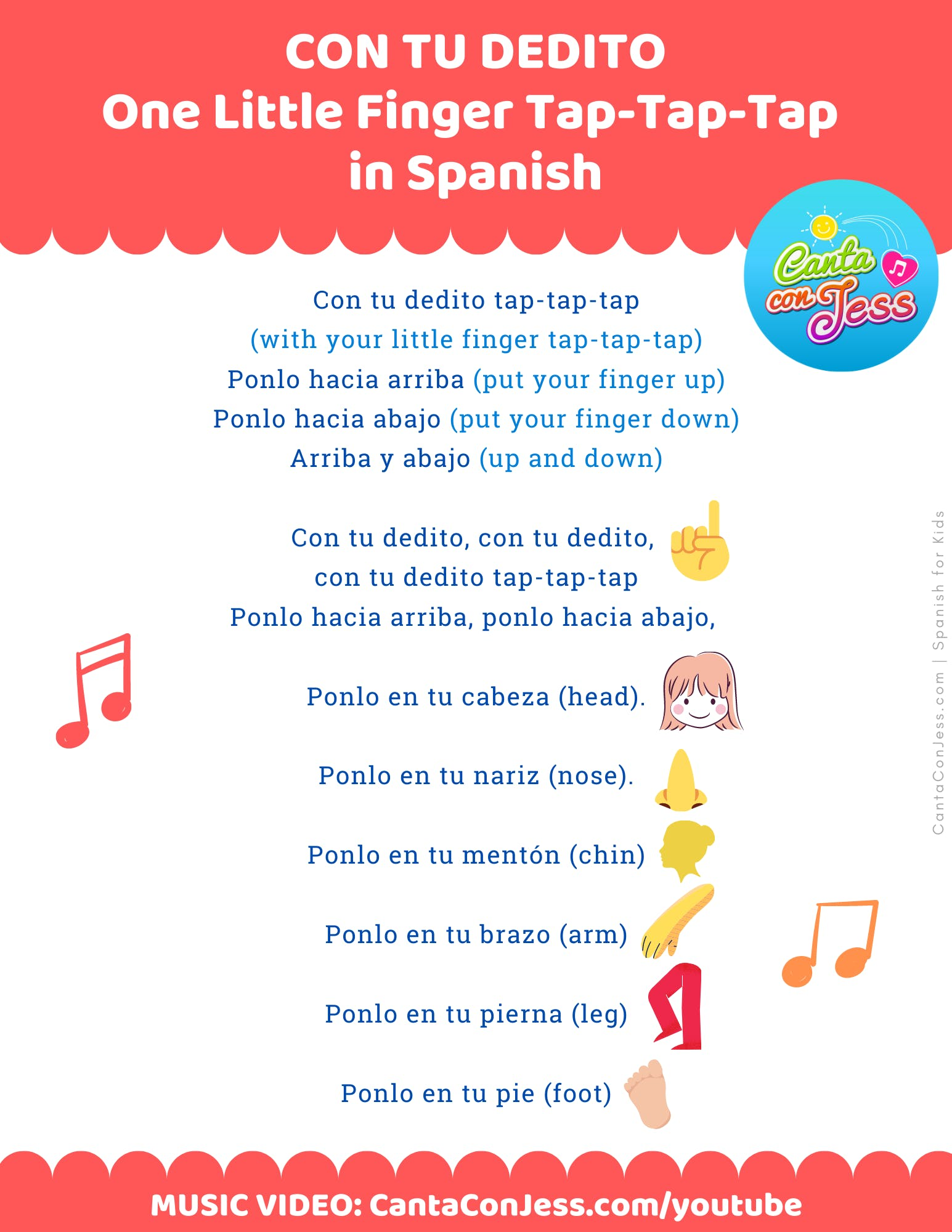 Con Tu Dedito - One Little Finger Tap-Tap-Tap in Spanish LYRICS