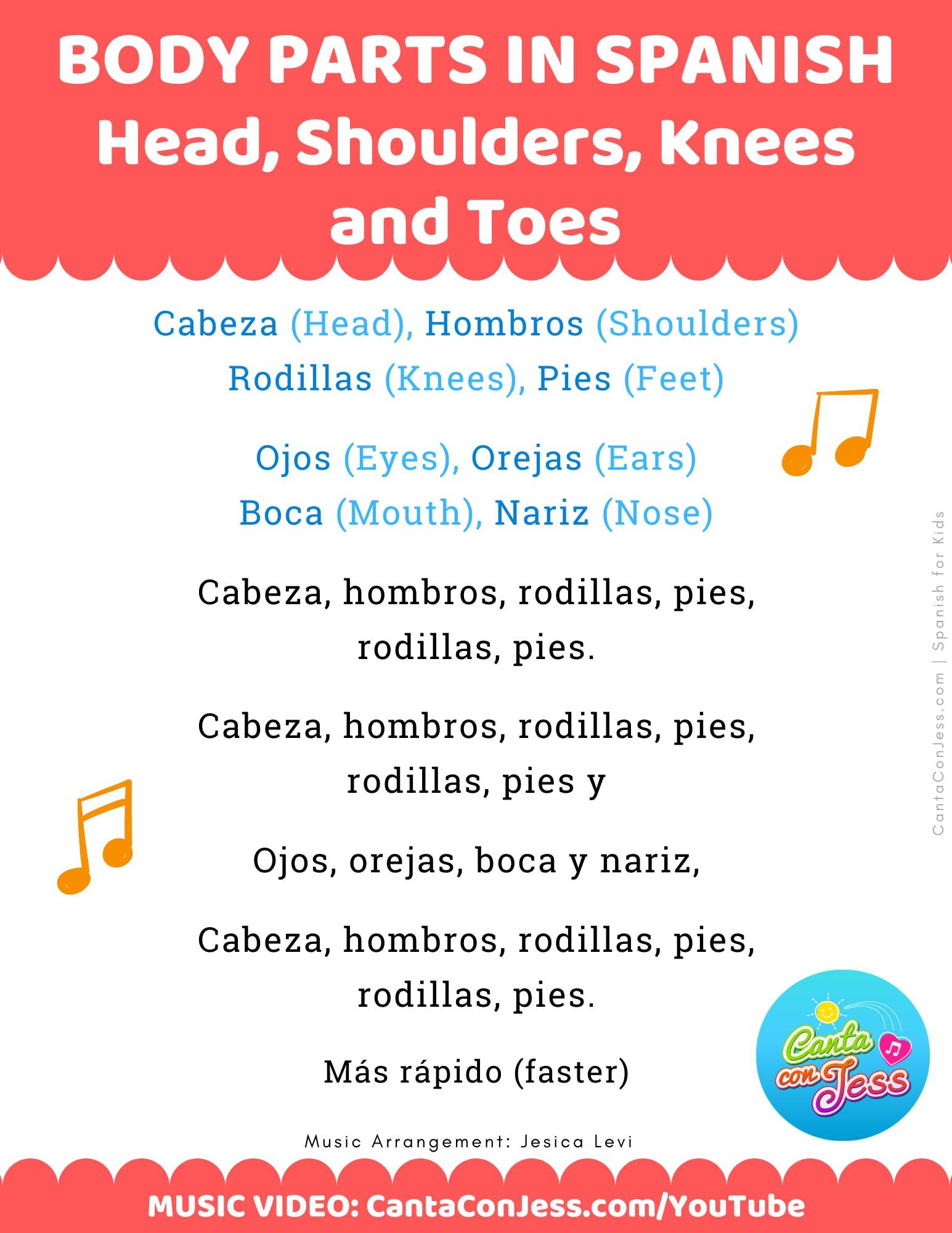 Head, Shoulders, Knees and Toes in Spanish LYRICS