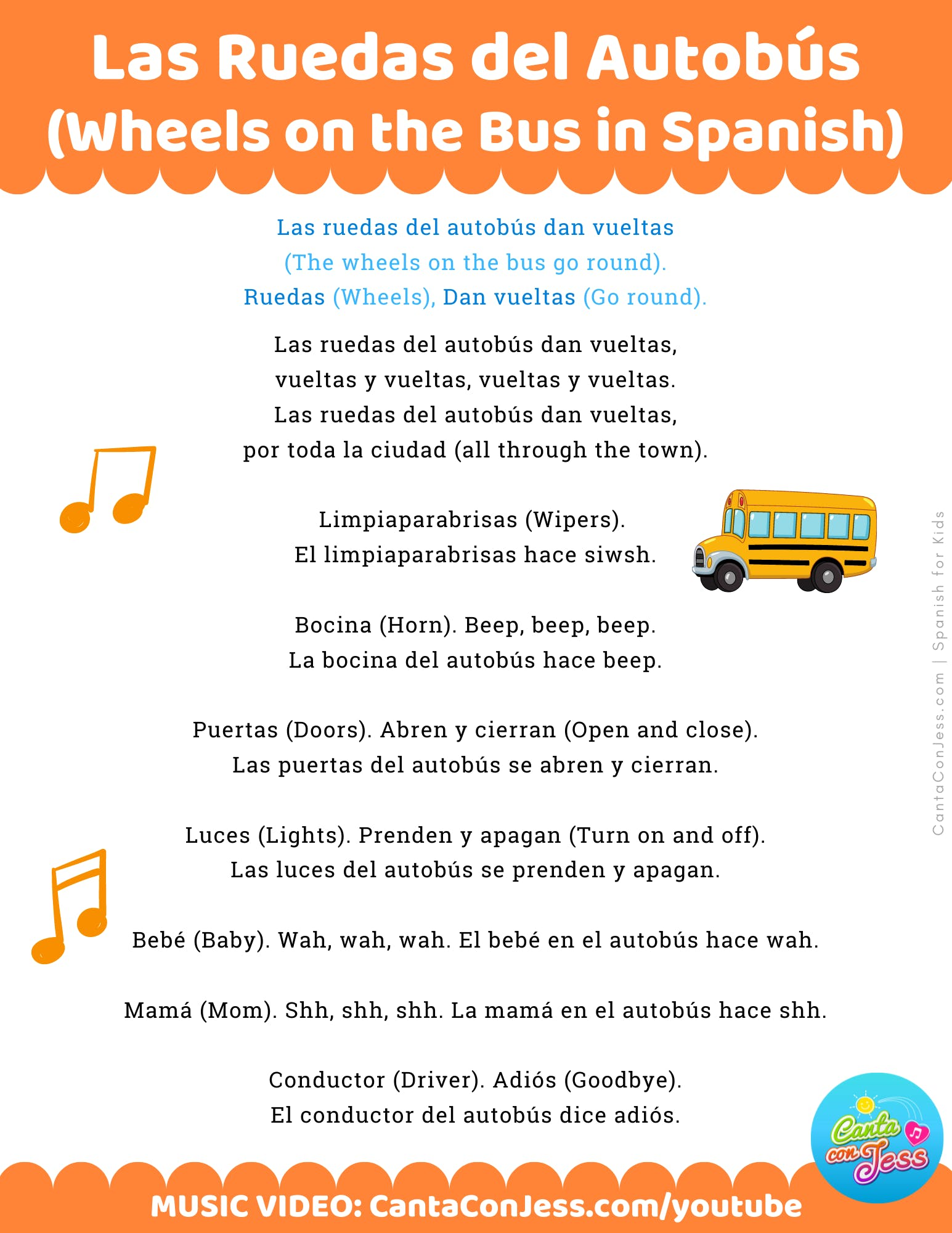 The Wheels on the Bus Song in Spanish - Las Ruedas del Autobús Bilingual