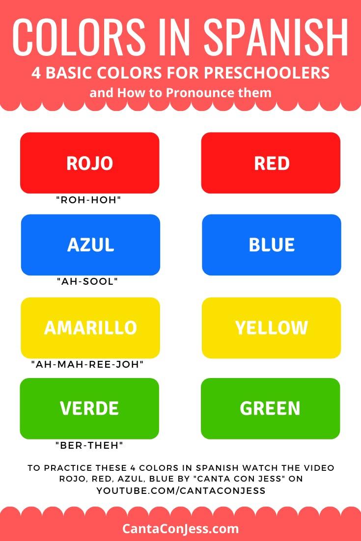 Colors in Spanish for Preschoolers - Rojo, Red. Azul, Blue. Amarillo, Yellow. Verde, Green - Canta Con Jess