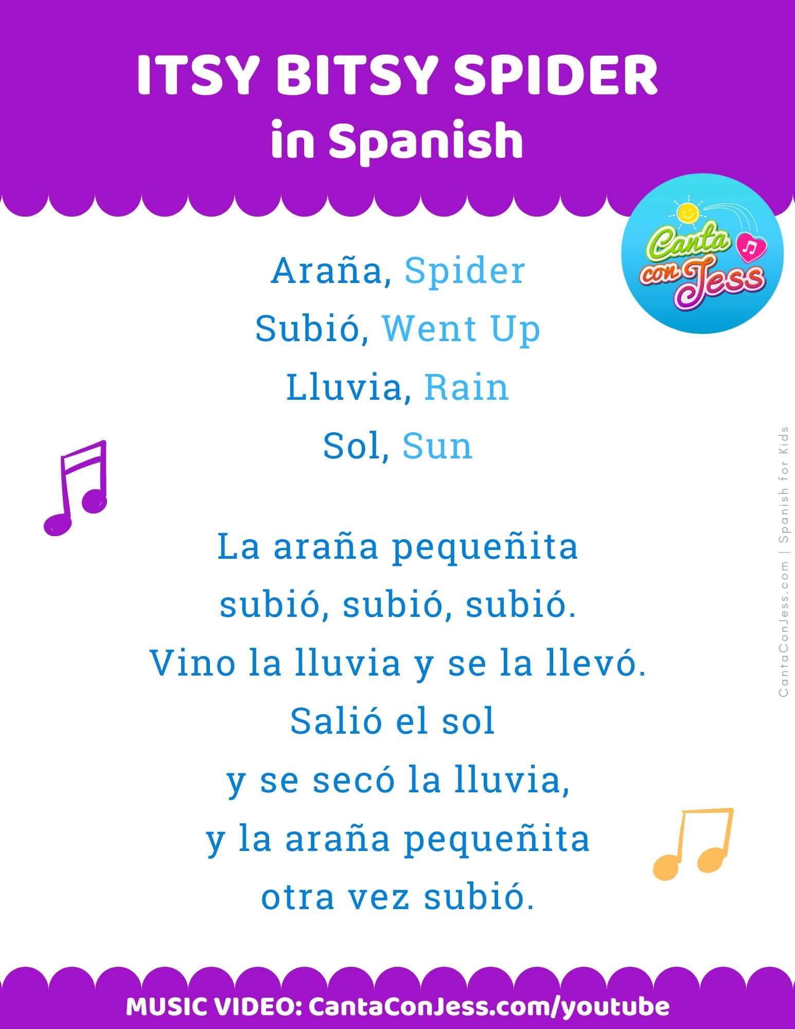 Itsy Bitsy Spider in Spanish LYRICS - La Araña Pequeñita LETRA