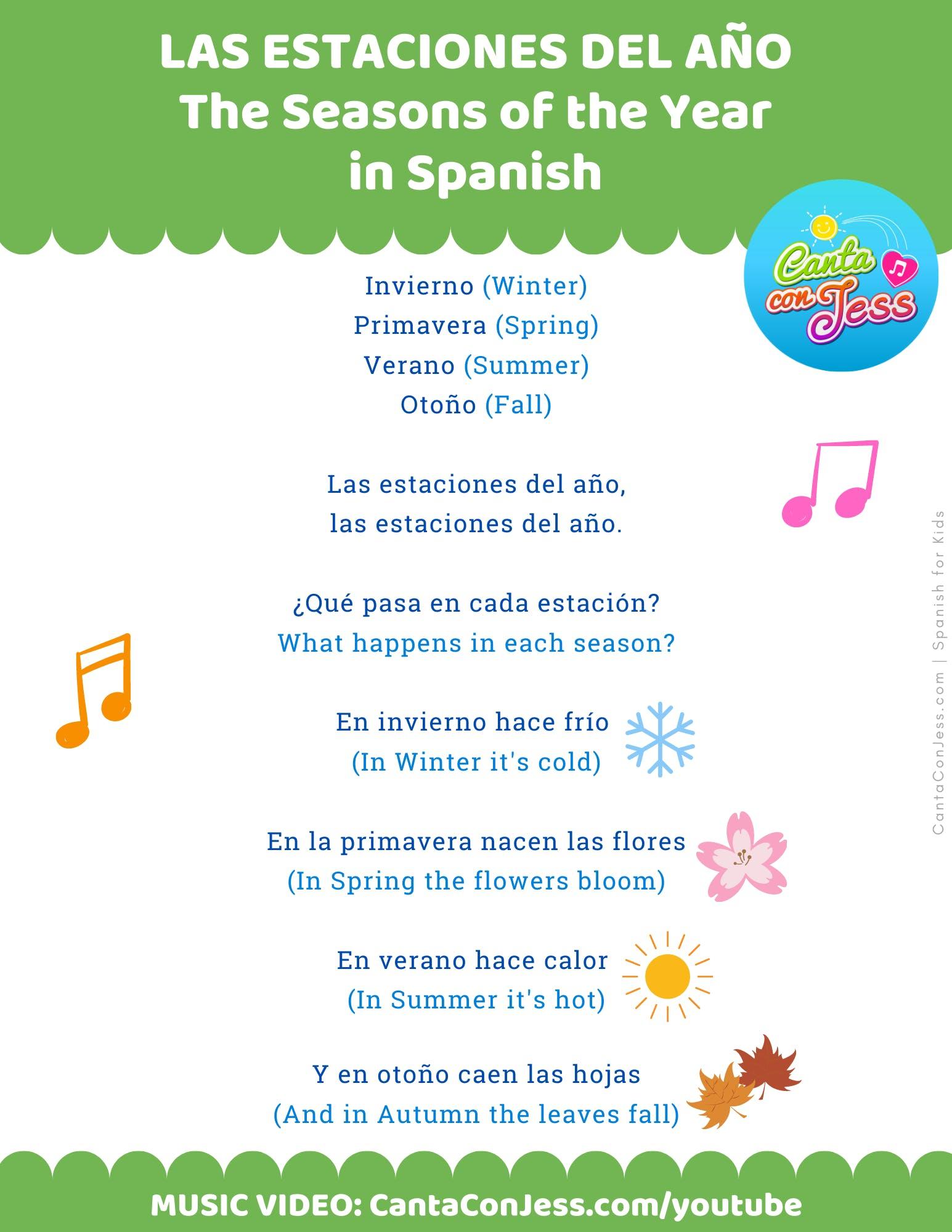 Seasons of the Year Song in Spanish - LYRICS