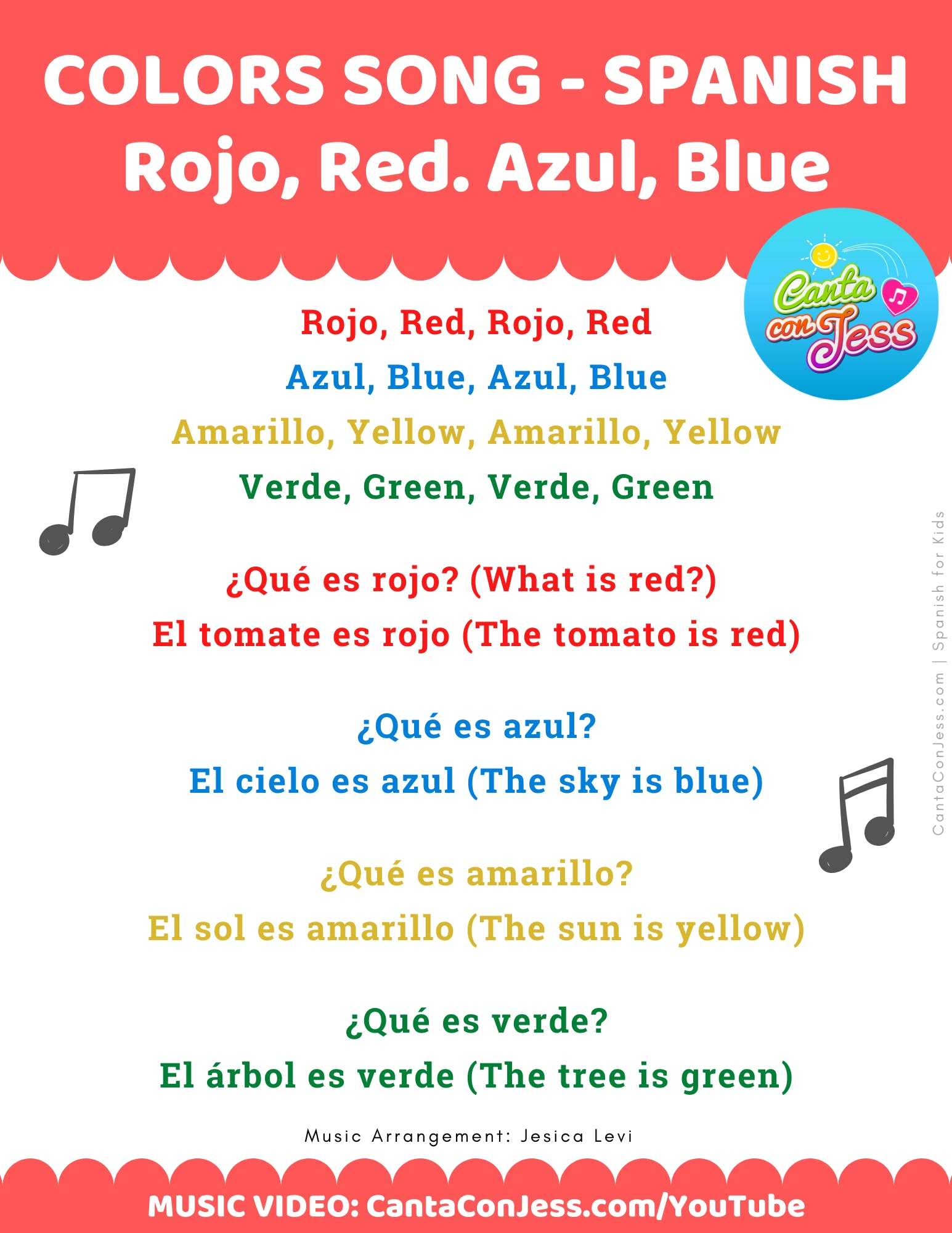 Basic Colors in Spanish: Rojo Red, Azul Blue, Amarillo Yellow, Verde Green Song Lyrics - Canta Con Jess - Spanish for Kids