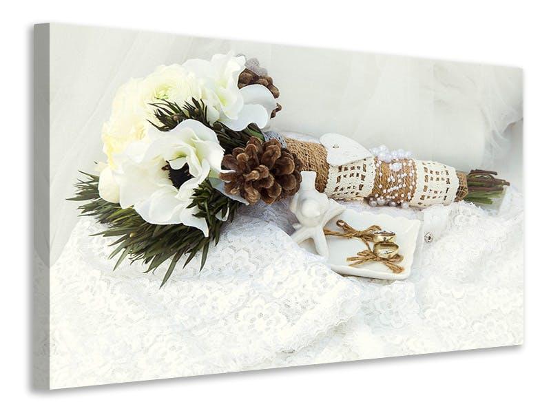 Leinwandbild Brautstrauss mit Eheringen