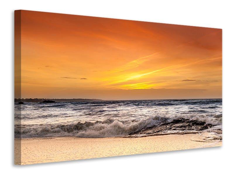 Leinwandbild See mit Sonnenuntergang