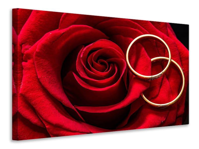 Leinwandbild Eheringe auf der Rose