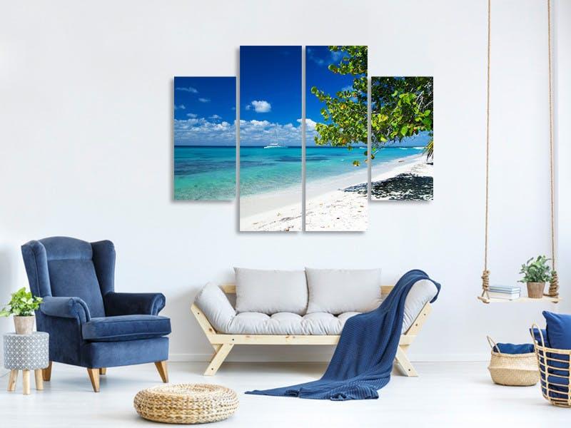 Leinwandbild 4-teilig Happy Beach