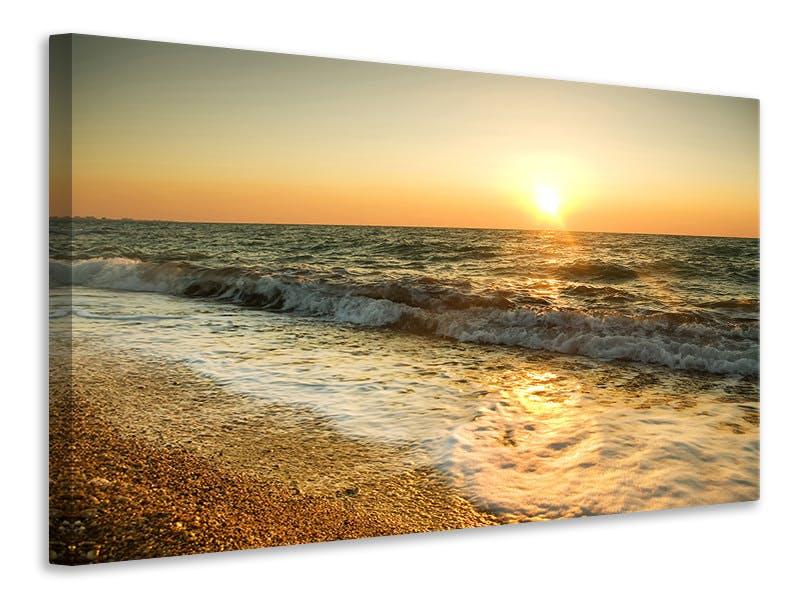 Leinwandbild Sonnenuntergang am Meer