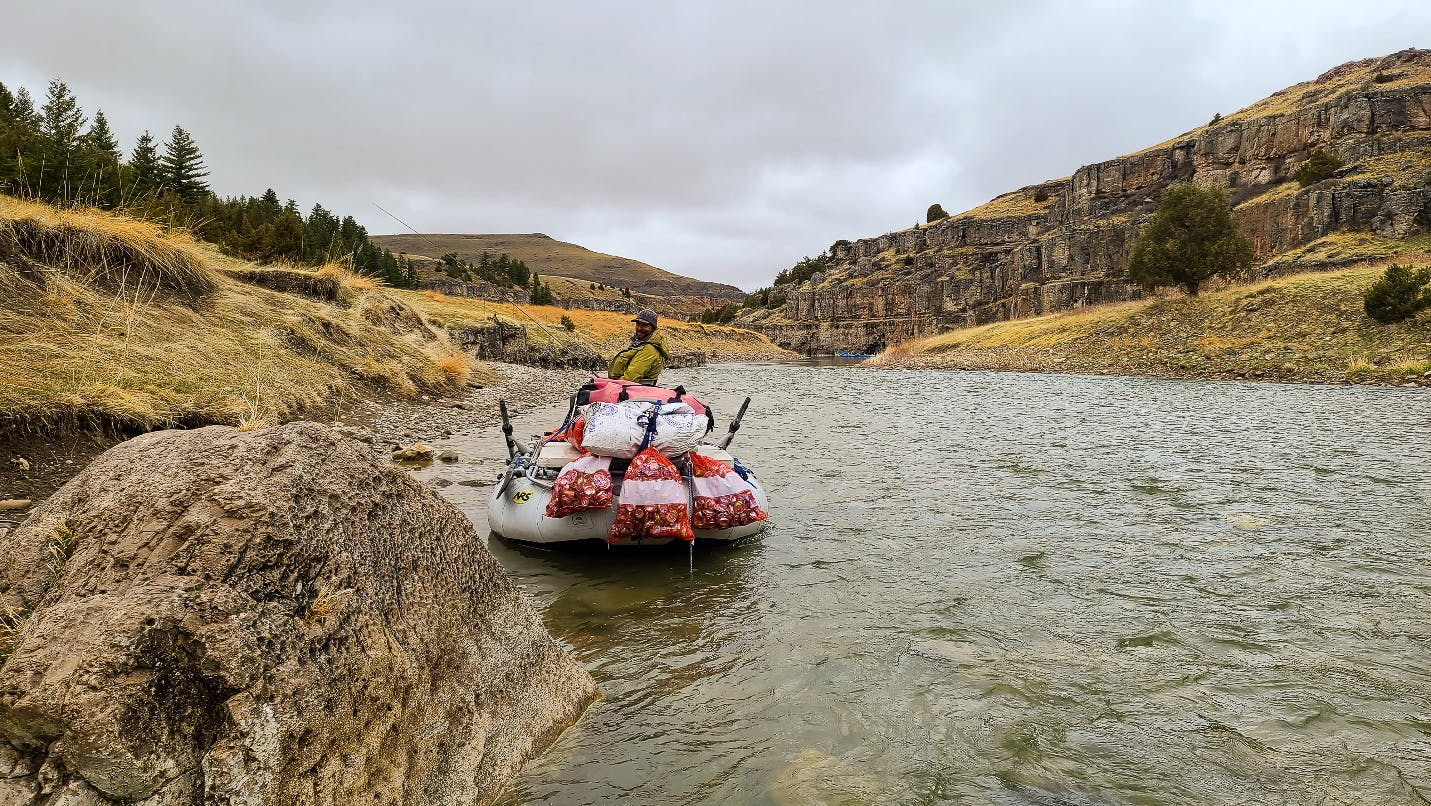 packing out camp trash on the Smith River, Montana