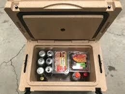 Cooler loaded with provisions