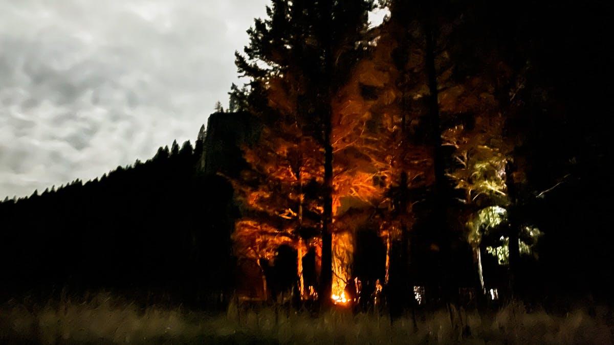 Campfire along the Smith River, Montana