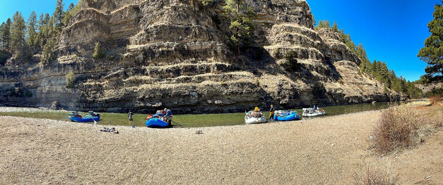 Lunch break along the Smith River, Montana