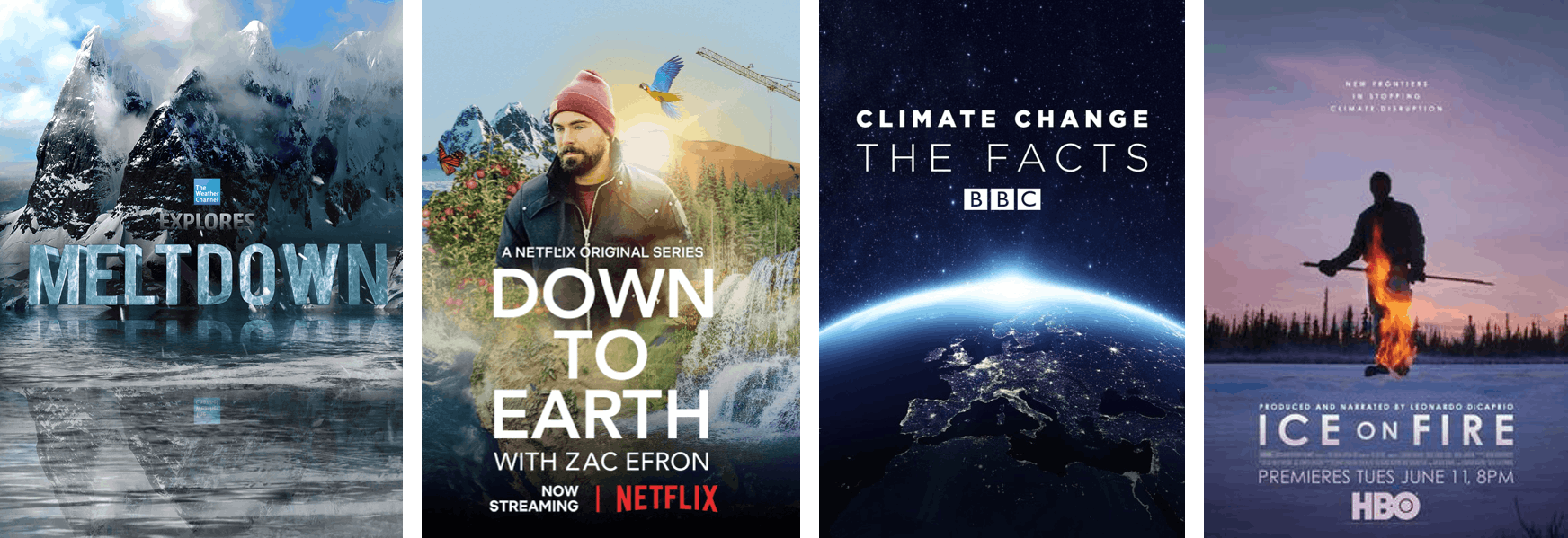 Posters of documentaries which Carbfix has been featured in.  Meltdown, Down to Earth with Zac Efron, Climate Change: The Facts, Ice on Fire.