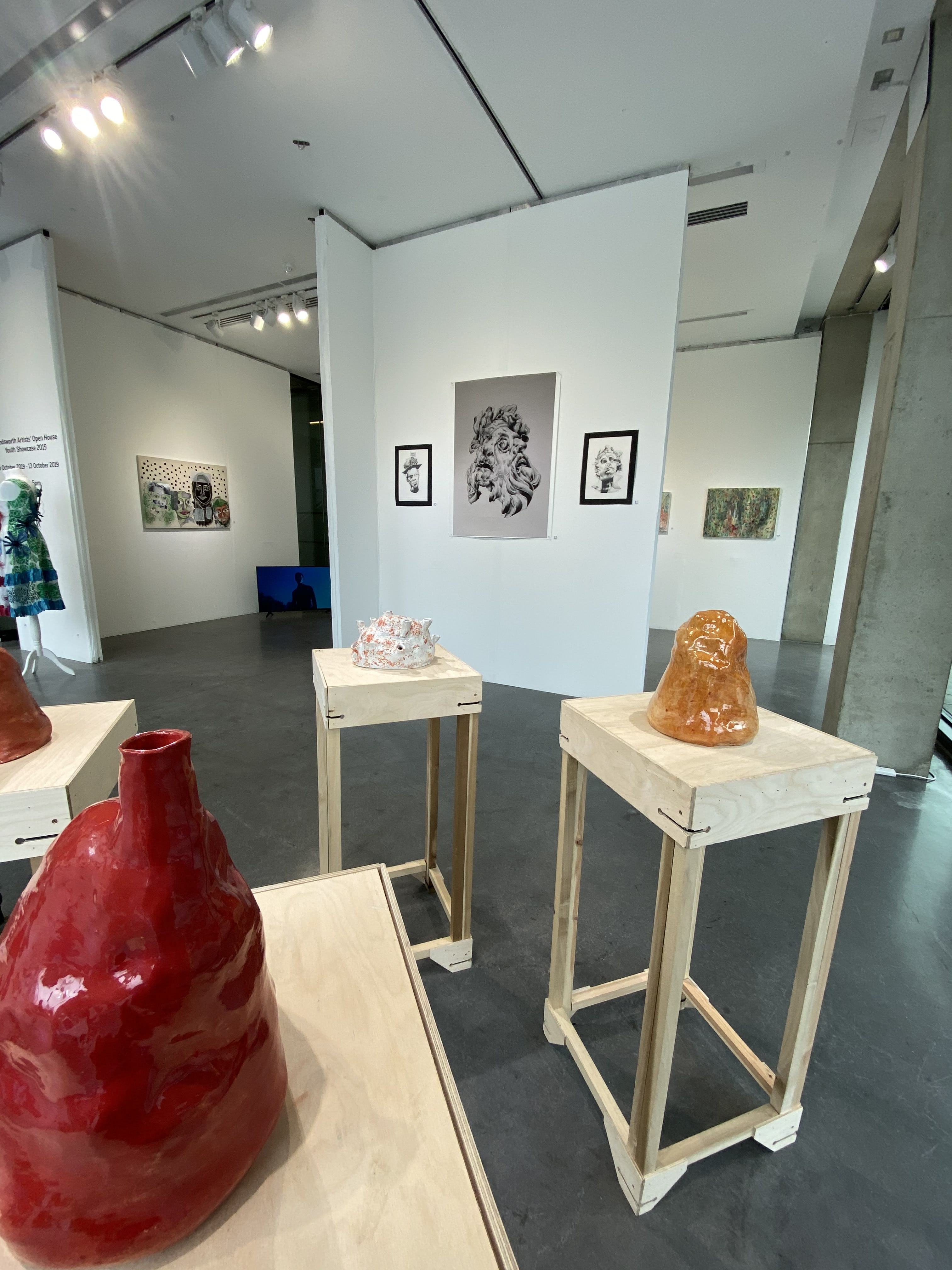 A view of the RCA Dyson Gallery with work by Salma Nassef, Pietra Galli, Kelly Mosquera and Anna Woodward