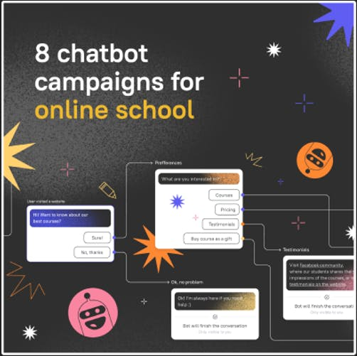 8 ready-made chatbot flow campaigns for your online school website