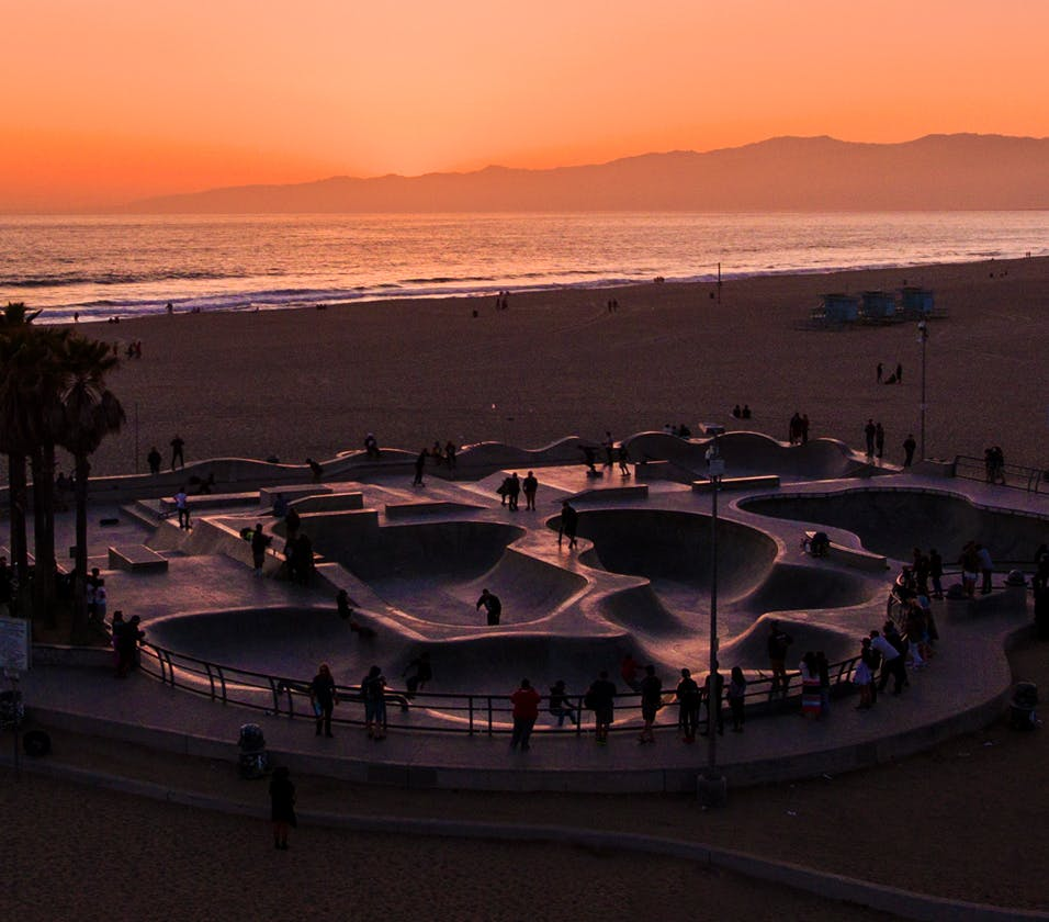 skatepark by the beach at sunset