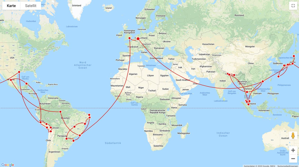 Reiseroute über alle Längengrade