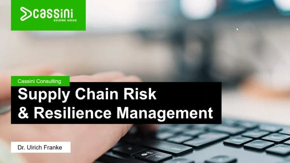 Supply Chain Risk and Resilience Management