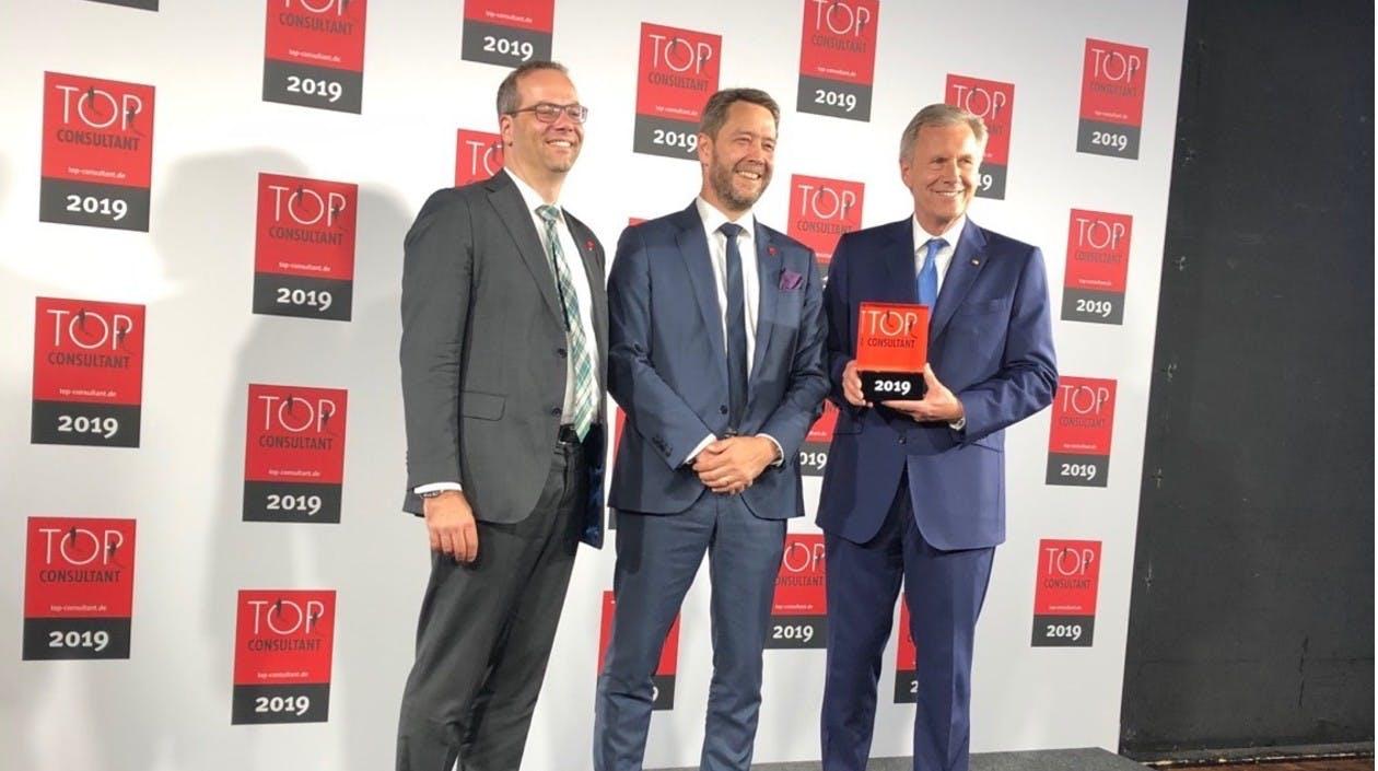 Verleihung Top Consultant - Michael Seipel, Patrick Ruschmeyer mit Christian Wulff