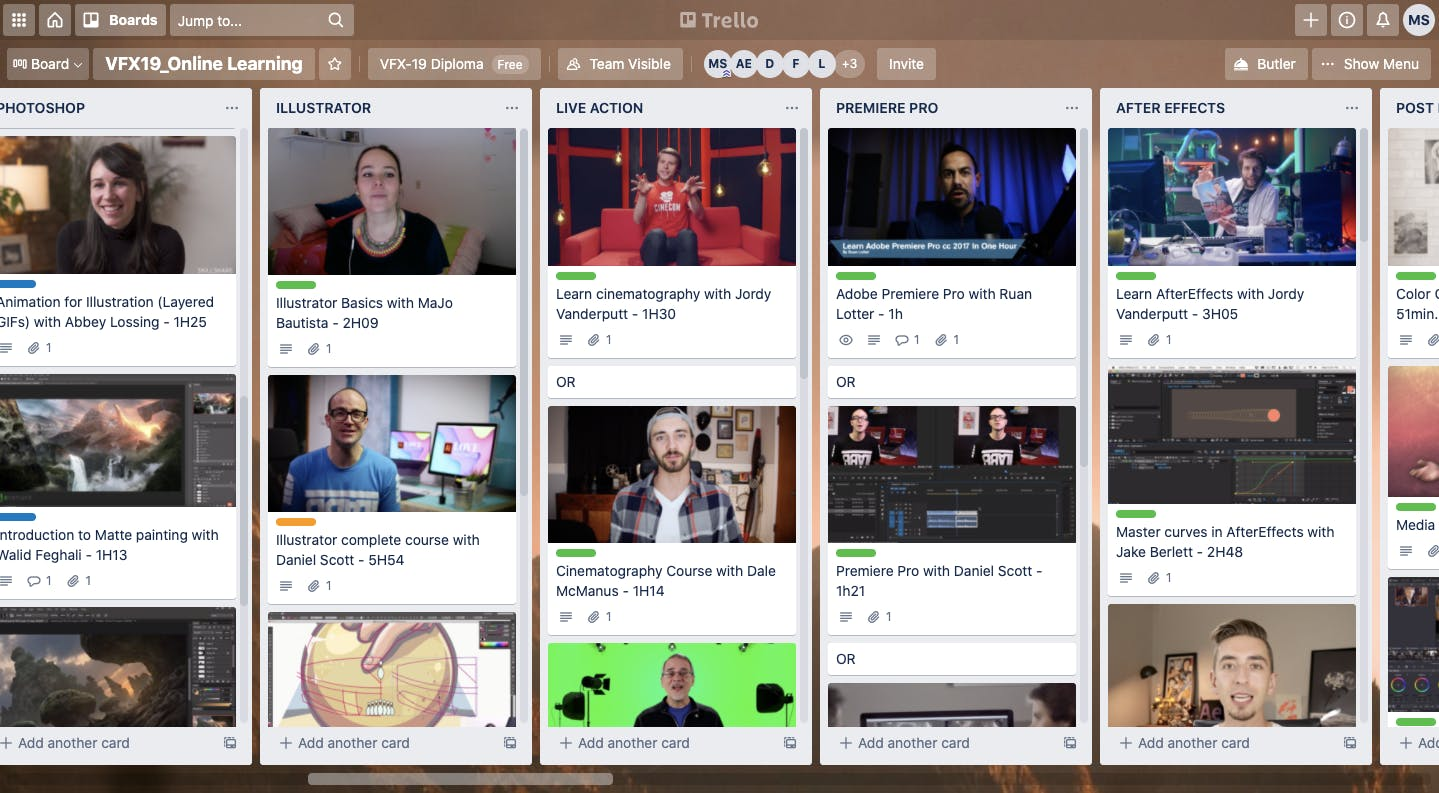 A selection of the bonus online courses available to Catalyst Berlin Visual Effects students