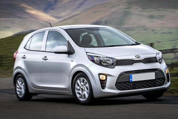 The exterior of a silver Kia Picanto