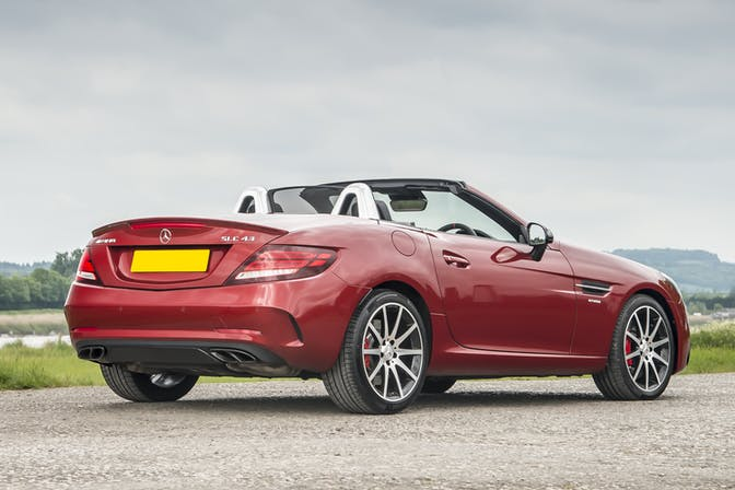 The rear exterior of a red Mercedes-Benz SLC