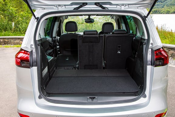 Boot space shot of the Vauxhall Zafira Tourer