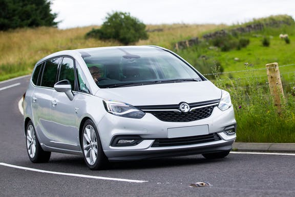 The exterior of a silver Vauxhall Zafira Tourer