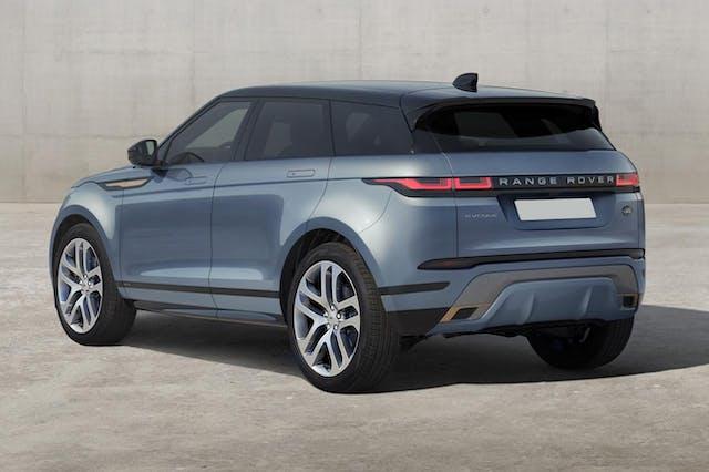 The rear exterior of a blue Land Rover Range Rover Evoque