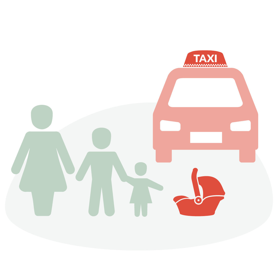 Graphic showing mum and children outside of a taxi