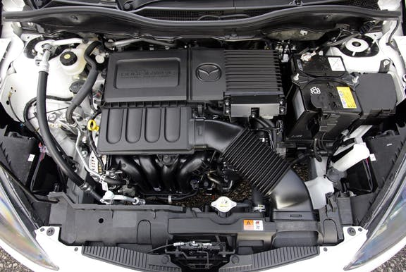 Engine shot of the Mazda 2