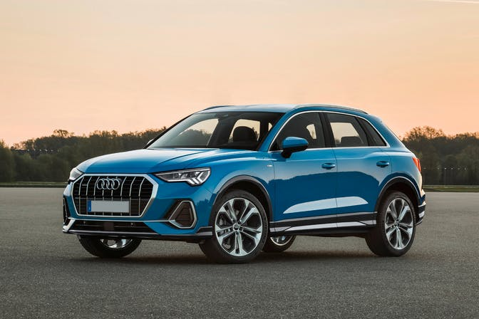The exterior of a blue Audi Q3