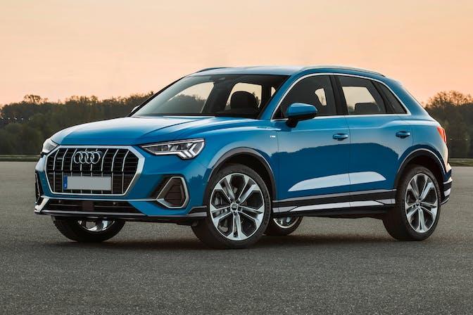 The exterior of a blue Audi Q3