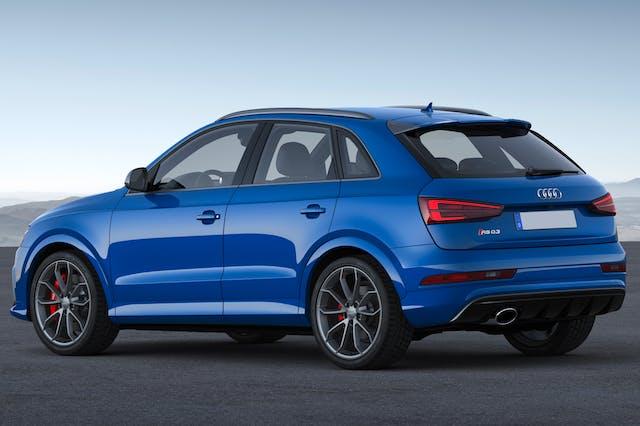 The rear exterior of a blue Audi Q3