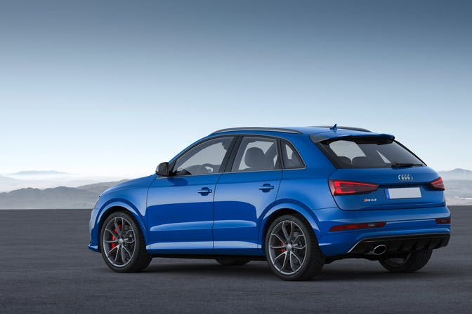 The rear exterior of a blue Audi Q3
