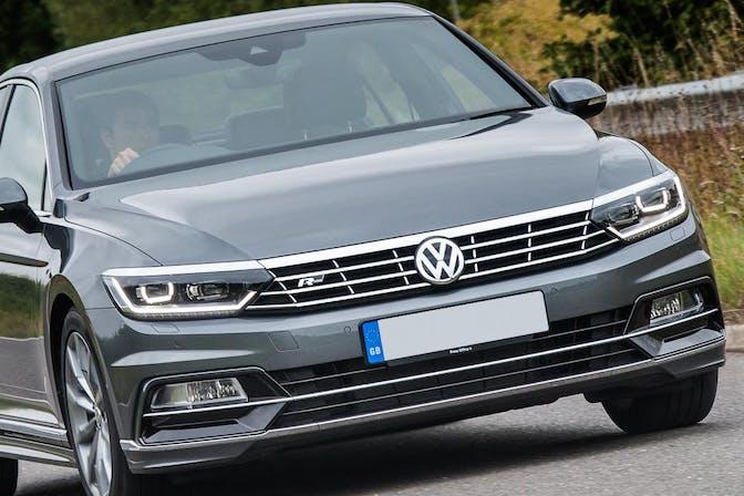 The front exterior of a silver Volkswagen Passat